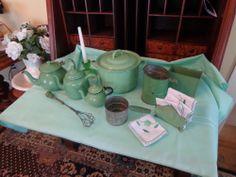Collection of Vintage Light Green Enamelware