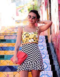 look de domingo: frutas e grafismos crop top cropped top fruits skirt