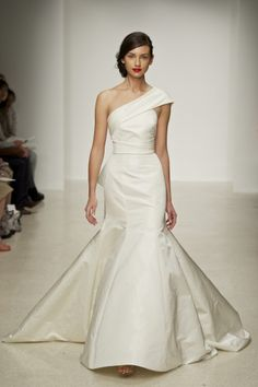 Harbor Amsale Spring 2013 Bridal Silk radzimir fit to flare one shoulder gown with exaggerated back bow.