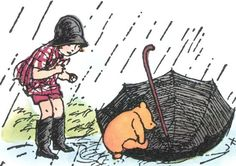 Christopher Robin watches Pooh climb into an umbrella boat