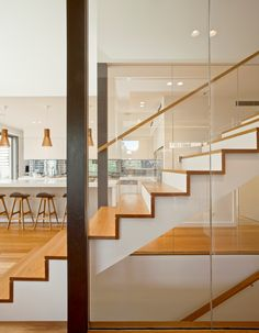 Interior staircase detail in timber and glass