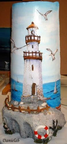 tegola marina Rock Crafts, Diy And Crafts, Paper Crafts, Decoupage, Lighthouse Painting, Ceramic Houses, Country Paintings, Horse Drawings, Wine Bottle Crafts