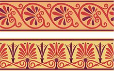 Anthemion -- classical motif based on a stylized honeysuckle plant or a radiating, fan-shaped palm leaf (palmette) commonly found in Greek, Egyptian, Assyrian, and other ancient art. Bold pattern, lots of curvy lines.