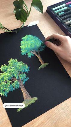 Art Drawings For Kids, Art Drawings Sketches Simple, Drawings Of Trees, Oil Pastel Art, Oil Pastel Drawings, Guache, Wow Art, Diy Canvas Art, Chalk Art
