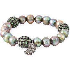 Loree Rodkin 18kt white gold diamond horn pearl bracelet (14,630 ILS) ❤ liked on Polyvore featuring jewelry, bracelets, metallic, fine jewelry, pearl bangles, diamond jewelry, pearl jewelry and green pearl jewelry
