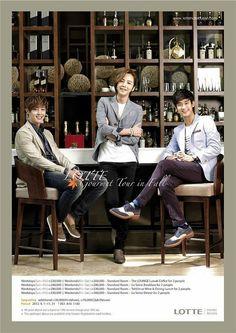 Lotte Busan Hotel AD... Kim Hyun Joong (left) and Jang Geun Suk (middle) in the same picture? ...Nice! ^_~