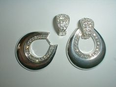 silver convertible earrings pave crystals by fadedglitter42263, $32.00