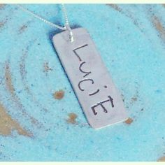 Signature Necklace Childs Name Handwriting Memorial Personalized in Pure Fine Silver PMC $52 Dad's writing: Ditto