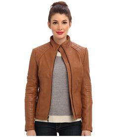 DKNY Zip Front Leather Scuba Jacket 18097-Y4