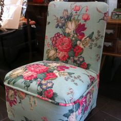 Early Bedroom Chair: Vintage Fabric - ReVamp Vintage