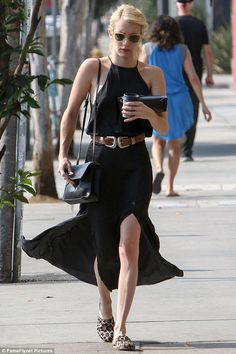 Emma Roberts wearing Proenza Schouler Lunch Leather Shoulder Bag and Garrett Leight Clare V. Sunglasses