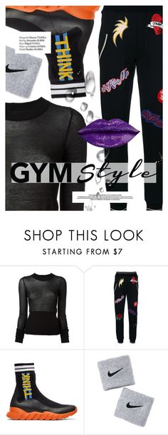 """Sweat Sesh: Gym Style"" by cultofsharon ❤ liked on Polyvore featuring Rick Owens, Philipp Plein, Fendi, NIKE and Haute Hippie"