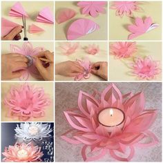DIY Paper Lotus Candlestick https://www.facebook.com/icreativeideas