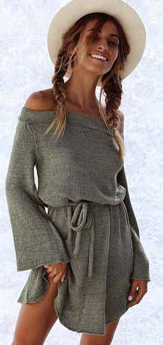 #spring #outfits White Hat + Grey Off The Shoulder Knit Dress