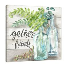 Gallery Wrapped Canvas: Vintage Specimen Bottles: Gather Friends by Tre Sorelle Studios : Pictures To Paint, Art Pictures, Jar Art, Cottage Art, Sunflower Art, Cross Stitch Art, Spring Painting, Paint And Sip, Painted Mason Jars
