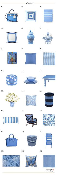 pantone marina, interior design product roundup, get the look, color for interiors, bright blue, electric blue, french blue, marine blue, Santorini blue, sky blue, denim blue