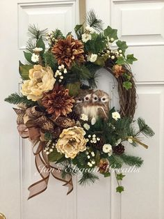 Fall Wreath. Winter Wreath. Owl Wreath. Wreath with Birds.