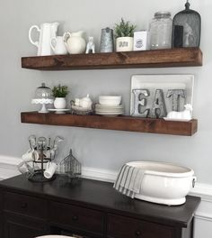 Floating Shelves In The Kitchen.