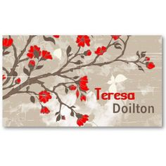Vintage red flowers on grunge taupe background business cards.