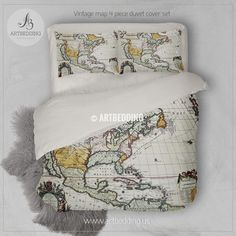 North and south america old map bedding set vintage old world map vintage map bedding vintage old map duvet cover antique map queen king gumiabroncs Gallery