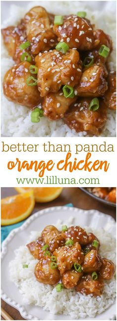 Healthier than Panda Orange Chicken - this Asian dish is a new favorite dinner recipe and easy too! Chicken sauce is made from orange juice & zest, oyster sauce, honey, and ginger!