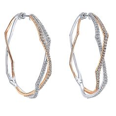 14k White/pink Gold Hoops Style  Intricate Hoop Earrings With  Diamond