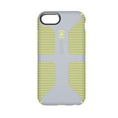 Speck Products CandyShell Grip Cell Phone Case for iPhone 8 (Also fits 7S/7/6S/6) - Nickel Grey/Antifreeze Yellow
