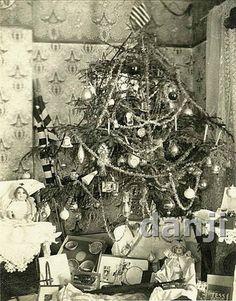 1919 Christmas Photo Edwardian Tree w Toys Nurse Dolls Childrens Dishes US Flag   eBay