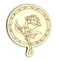 Beauty & The Beast Rose Unfinished Laser Cut Wood Shape FLR4