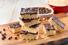 Who says crisped rice treats are just for kids? I made these treats with a chocolate-peanut butter topping today –cut small and served on a tray, they would be appropriate for any grown-up gathering.