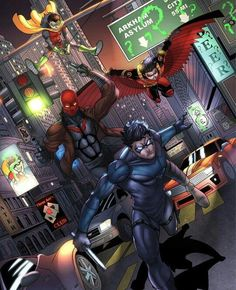 The Robins. Nightwing, Red Robin, Red Hood & Robin.