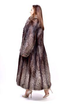 Silver Fox Fur Coat Full Length Very Long Class of Lynx Mink Red Blue | eBay