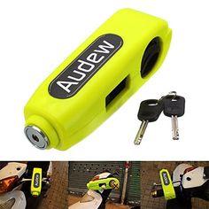 AUDEW Motorcycle /Scooter/ ATV /Handlebar Grip Lock ,Anti-theft Brake Lever Security Lock, Throttle Grip Lock Yellow. For product info go to:  https://www.caraccessoriesonlinemarket.com/audew-motorcycle-scooter-atv-handlebar-grip-lock-anti-theft-brake-lever-security-lock-throttle-grip-lock-yellow/