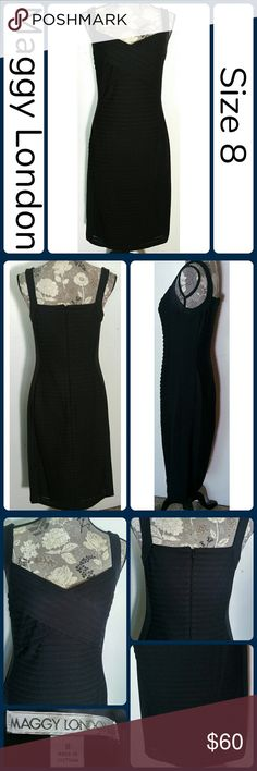 "Sz 8 LBD Maggy London Illusion Black Dress This dress looks amazing on! It looks great dressed for any occasion or for work or a date. It has very a flattering style, The dress is fully lined. It has a zipper in the back. I am 5'4"" and it falls just below my knees. Excellent pre worn condition, worn once! 96% Polyester, 4% Spandex. Across Bust 17"", Waist 30"", Hips 21"" across, Length 44"" No rips, tears, or stains.... From a smoke-free, dog friendly home, No trades and no off-site…"