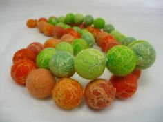 Citrus & Lime Felt & Silk Bead Long Necklaces | Flickr - Photo Sharing!