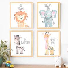 Safari Nursery Decor Wall Art Print Set of 4 Nursery Art Set Baby Animal Paintin. Safari Nursery D Baby Animal Nursery, Safari Nursery, Nursery Wall Art, Zebra Nursery, Nursery Ideas, Woodland Nursery, Giraffe Decor, Blush Nursery, Nursery Frames