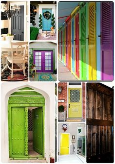 I do like the painted door trend.  This reminds me I need to paint a couple of exterior door at my house.  The dilema with painted doors for me is choosing a color.  Good thing it is just paint, not permanent.