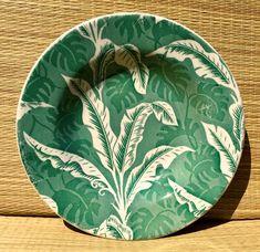 Wallace China Green Shadowleaf Flat Soup Bowl
