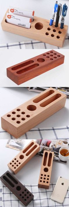 Bamboo Wooden Pen Pencil Holder Stand Business Card Display Stand Holder Office Desk Supplies Stationary Organizer