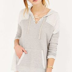 Sloane Rogue Knit-Mix Hooded Top - Urban Outfitters