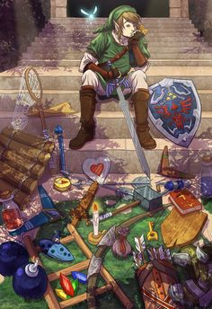 HOW does Link keep all this stuff on him?? - The Legend of Zelda; fan art