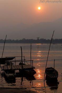 Sunset on the mekong Laos