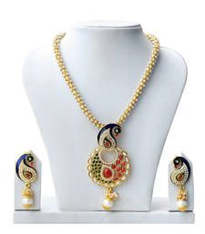 Black friday deals and offers mirraw Buy Super-Lite Peacock Design Multicolor Pearl Set necklace-set online Necklace Set, Beaded Necklace, Pendant Necklace, Antique Jewellery Online, Peacock Design, Pearl Set, Imitation Jewelry, Shopping Day, Wedding Jewelry Sets