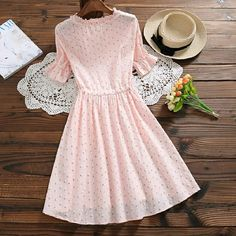 Hot Fashion Ladies V-Neck Flare Sleeve A-Line Dresses Summer Floral Print Lace-Up Ruffles Sweet Dress Simple Dresses, Cute Dresses, Casual Dresses, Summer Dresses, Girly Outfits, Modest Outfits, Classy Outfits, Muslim Fashion, Modest Fashion