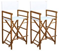 White Directors Chairs Pair