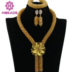 Shiny Champagne African Beads Jewelry Set Nigerian Wedding/Party Women Beads Set Wholesale Free Shipping BN414