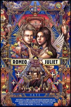 Romeo + Juliet by Ise Ananphada - Home of the Alternative Movie Poster -AMP- Romeo Juliet 1996, Romeo And Juliet Poster, Juliet Movie, Romeo And Juliet Drawing, Leonardo Dicaprio Romeo, Romeo Y Julieta, Movie Synopsis, Movie Poster Art, Famous Movie Posters