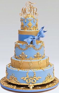 Gold and blue cake