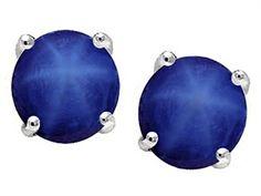 Original Star K Round 7mm Created Star Sapphire Earrings Studs - 305196