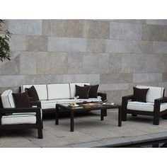 Piermarco Collection Outdoor Living Room - Seats 5 by Bellini Home and Gardens. $1971.00. Belongs to Collection 99 Collection. Bronze Leather Flat Wicker (BRZ)/ Canvas Natural Polyester. All-weather Sunbrella outdoor cushions. Color-coordinated piping on canvas cushion. Includes 1 Sofa, 1 Coffee Table and 2 Club Chairs. What is included:Club Chair (2)Sofa (1)Coffee Table (1) The Collection 99 Collection Outdoor Living Room offers long-lasting comfort for indoor or outdoo...